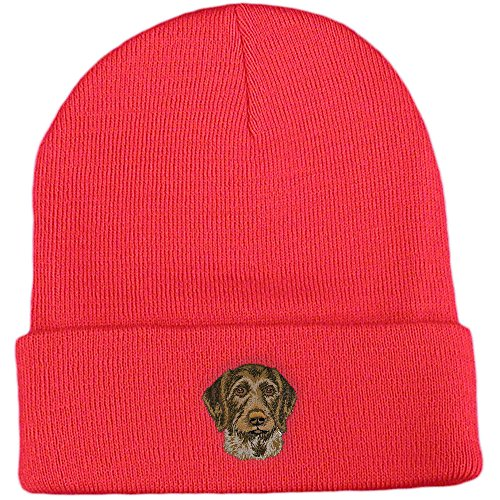 German Wirehaired Pointer Club - Cherrybrook Dog Breed Embroidered Ultra Club Classic Knit Beanies - Red - German Wirehaired Pointer