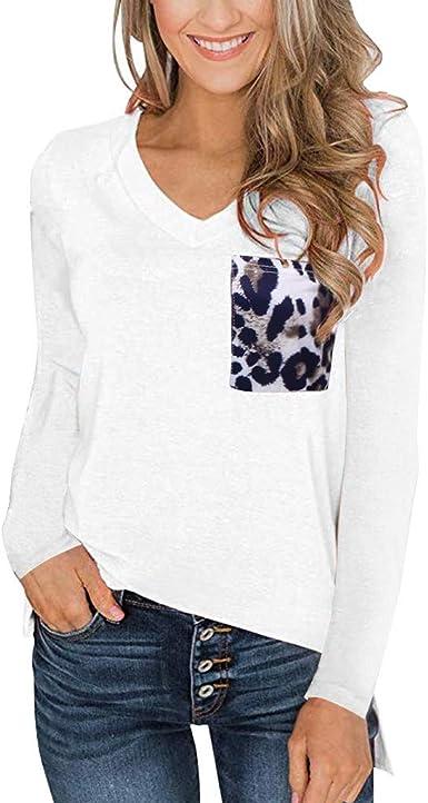Blusa Mujer Casual Mangas Largas Blusas Básicas Color Sólido Cuello V Camisetas Sueltas con Bolsillo Leopardo Oficina Trabajo Camisa Tops Shirt Originales para Otoño Invierno RISTHY: Amazon.es: Ropa y accesorios