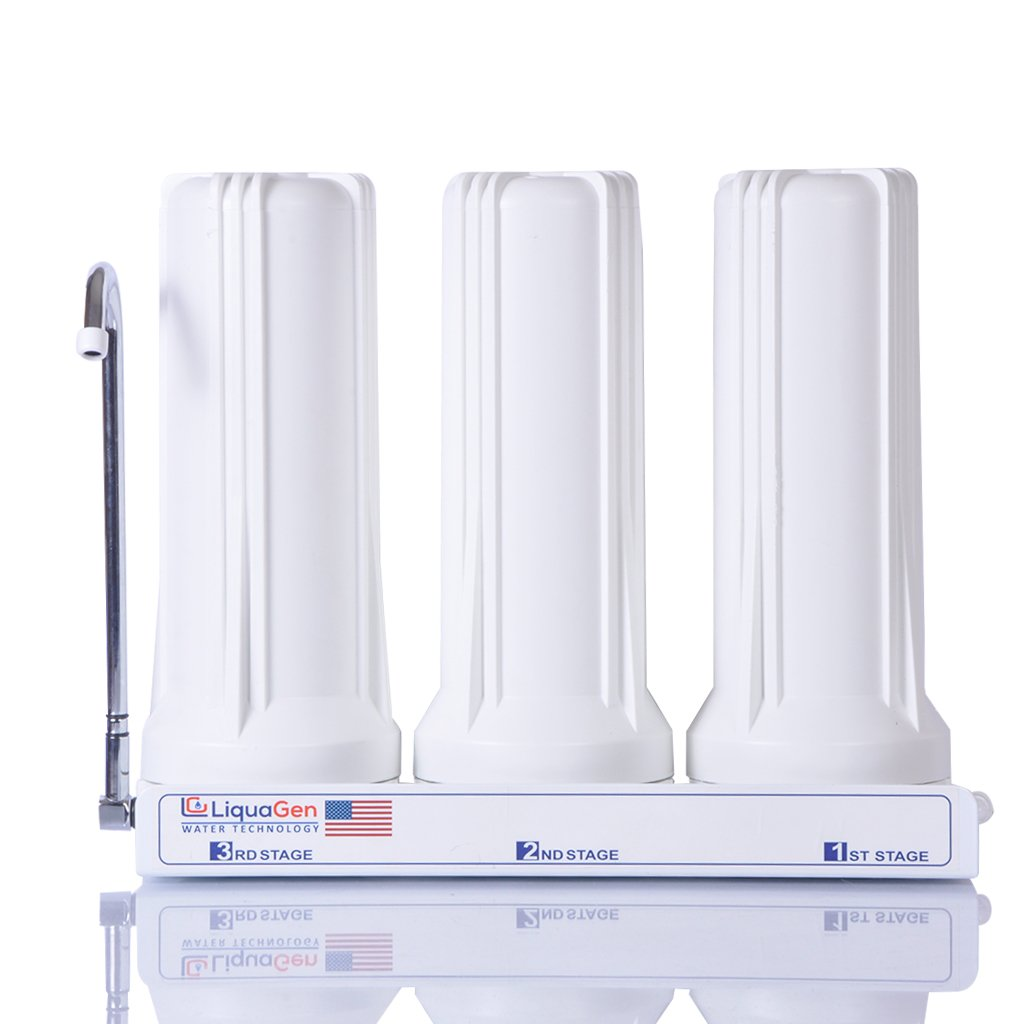 Super Capacity Premium Quality 3 Stage Counter-Top Drinking Water Filtration System by LiquaGen Water