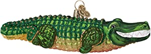 Old World Christmas Glass Blown Ornament with S-Hook and Gift Box, Zoo Animals Collection (Alligator)