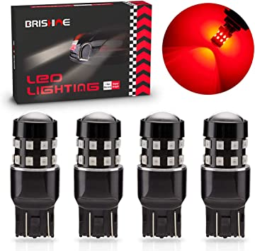 Turn Signal Lights BRISHINE 4-Pack Super Bright 7443 7440 7444 992 T20 LED Bulbs Brilliant Red 9-30V Non-Polarity 24-SMD LED Chipsets with Projector for Brake Tail Lights