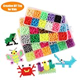 Fuumuui 24 Colors Fuse Beads Kit Creative Gift Toy Kids Different DIY Pegboard Set, Ideal 3 4 5 6 7 8 9 10 11 12 Year Old Girls Boy Gifts