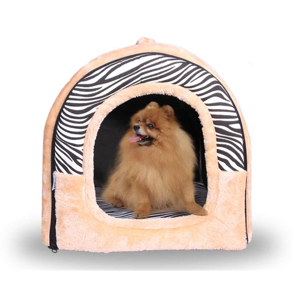 Large Pet Nest,Zebra Stripes Pet House and Sofa,Moisture Proof Non-Slip Detachable Foldable Double Door Design Pet Bed,Warm for Winter,L