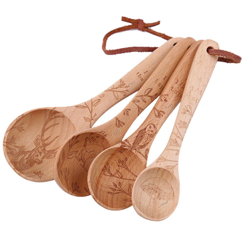 YOULANDA Kitchen Solid Beech Wood Tea Coffee Spice Measuring Spoon Set Of 4 by YOULANDA (Image #1)