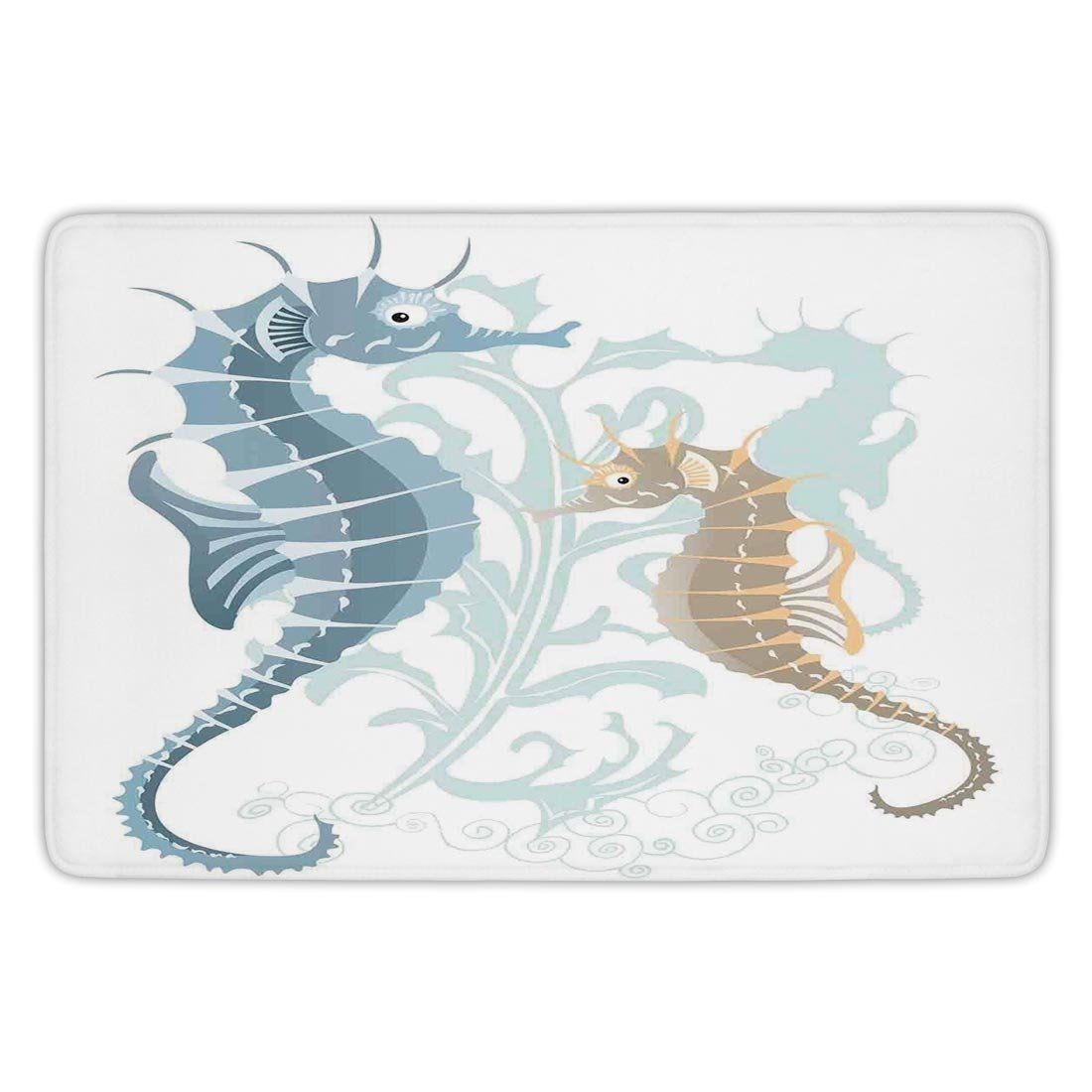 Bathroom Bath Rug Kitchen Floor Mat Carpet,Animal Decor,Pair of Little and Big Fishes in Soft Tones Featured Design Tropical Creatures,Blue Cream,Flannel Microfiber Non-slip Soft Absorbent