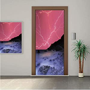 Ylljy00 Lake House Decor Door Wall Mural Wallpaper Stickers,Thunderstorm Bolts with Vivid Colorful Sky Like Solar Lights Phenomenal Nature Picture 30x80 Vinyl Removable Decals for Home Decoration