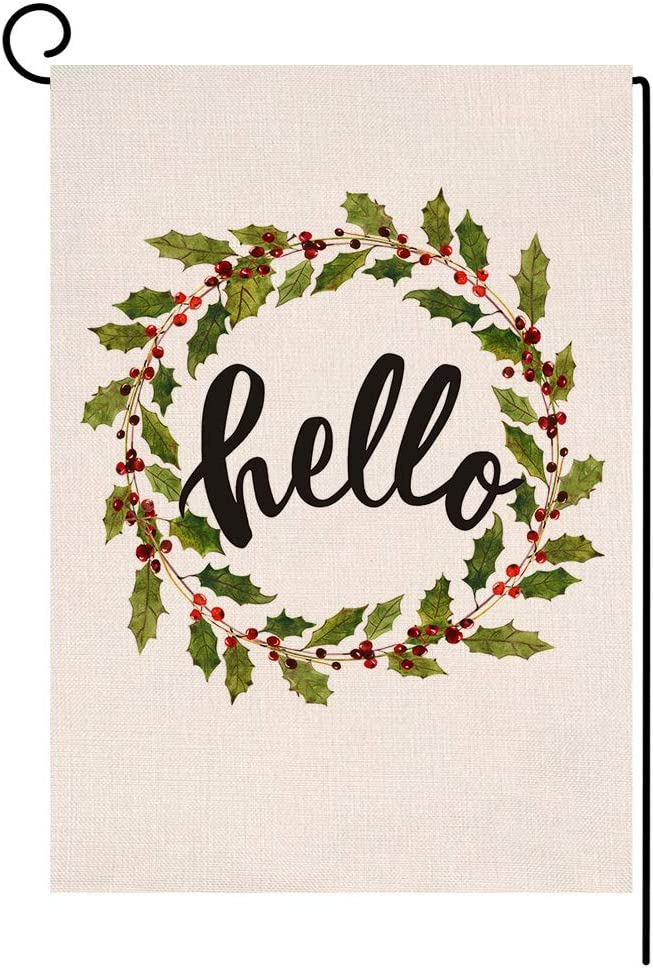 BLKWHT Christmas Garden Flag 12.5 x 18 Vertical Double Sided Winter Berries Wreath Outdoor Decorations Burlap Small Yard Flag S1006