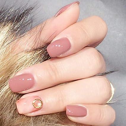 Aegenacess - 24 uñas postizas cuadradas cortas con diseño de oro falso, color carne, brillante, de gel, acrílico, para manicura, manicura, puntas francesas con pegatinas de doble cara para mujeres y niñas: