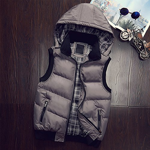 Zipper BOZEVON Down Men's Sleeveless Jacket Winter Grey Down Hooded Outwear Hoodie Waterproof Coat Windproof Vest WrPrnBqS