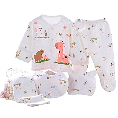 AHCUTE 5 Pieces Newborn Baby Boys Girls Clothes Sets Unisex Infant Outfits for 0-3 Months