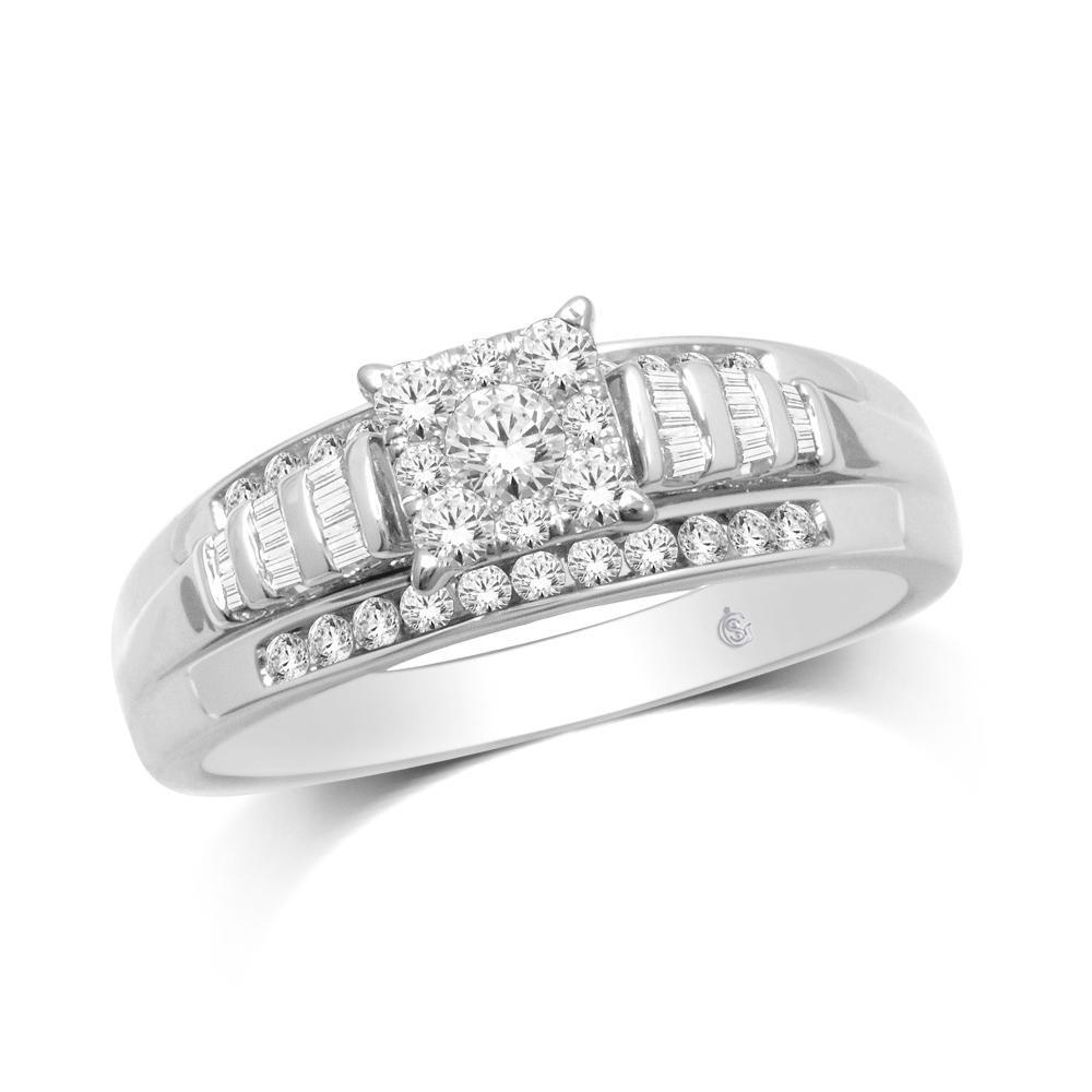 10K White Gold 1/2 Ct.Tw. Diamond Fashion Ring