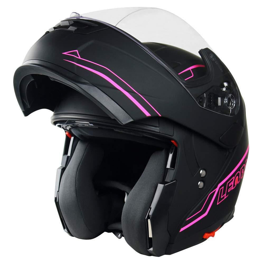 57-58cm Leopard LEO-838 Safari Modular DOUBLE SUN VISOR Flip up Front Motorbike Motorcycle Helmet Matt Black//Blue M