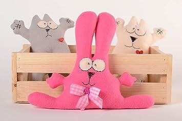 Muneco de tela juguete artesanal peluche original conejito rosado con lazo