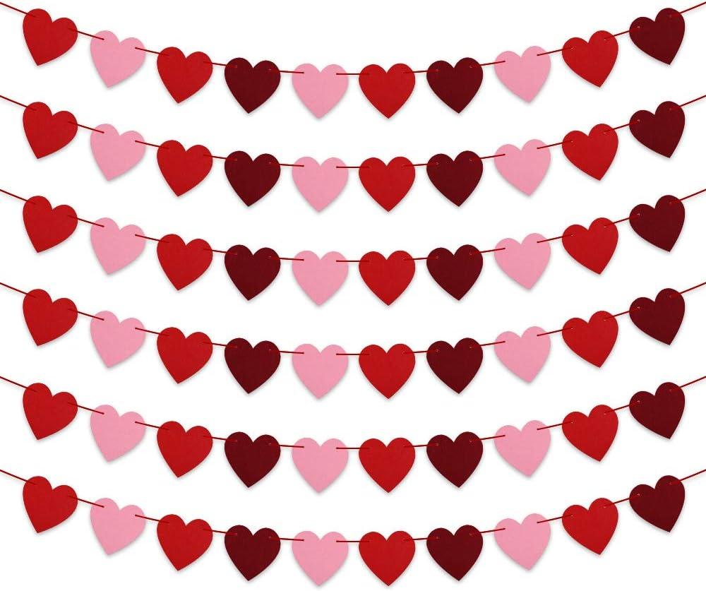 Amazon Com Felt Heart Garland Banner No Diy 6 Pcs Valentines Day Banner Decor Valentines Decorations Anniversary Wedding Birthday Party Decorations For Home Office Decor Home Kitchen