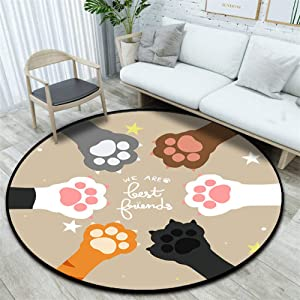 KFEKDT Nordic Cat Paw Pattern Rug Bedroom Area Rug Kids Playing Games Crawling Cushion Sofa Chair Cushion Living Room Carpet No.2 Diameter 60cm