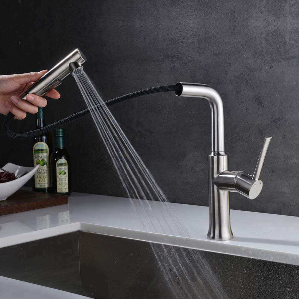 Pull Out Kitchen Faucet Brushed Nickel, Crea Single Hole Kitchen ...