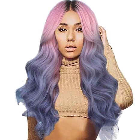 Perruque Femme Naturelle Curly Rose Et Bleu
