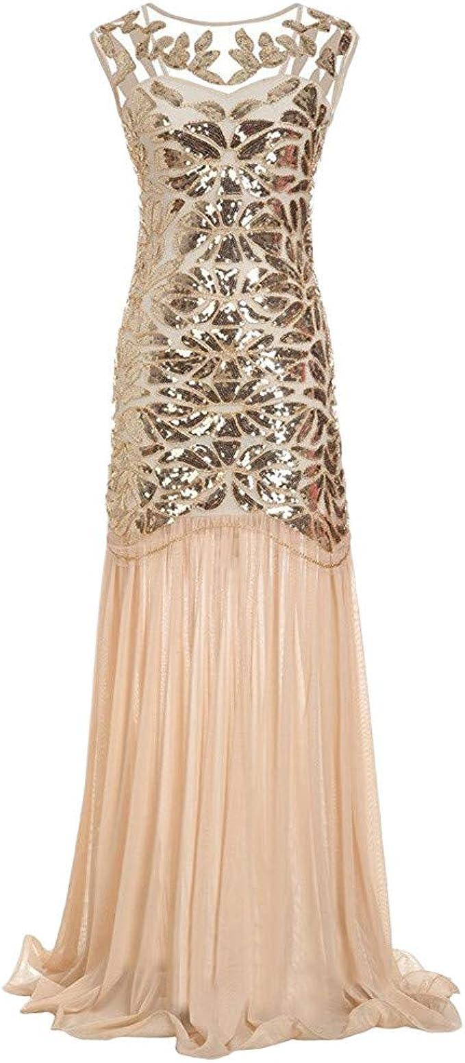 MIRRAY Damen Glitzerkleid Kleid Retro 13er Jahre Kleid Stil