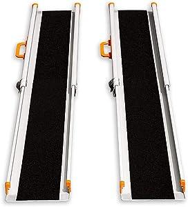 Ruedamann 6' Adjustable Aluminum Wheelchair Ramp,Portable Telescoping Non-Skid Surface Wheelchair Ramp for Home, Stairs, Steps, 600lbs Capacity (MR207N-6)