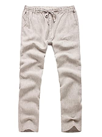 c2b3d107ae6f YIFAN DREAM Mens Trousers Casual 100% Linen Long Pants Lightweight Trousers  with Drawstring and Elastic Waist Summer Beach Solid Pants Straight Leg ...