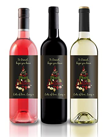 Personalised Christmas Wine Label Great Gift Idea For Family