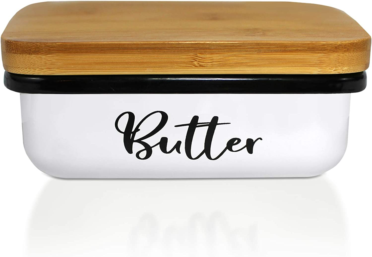Butter Dish-Modern Farmhouse Kitchen Decor-Butter Dish With Lid-Butter Dish White-Large Butter Keeper Container With Bamboo Lid-Butter Dishes With Covers-Vintage White Butter Dish by Home Acre Designs