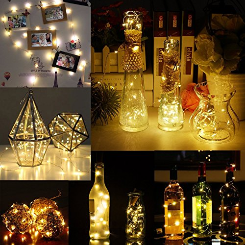 ALED LIGHT 6 Pack LED Luces de Botella de Vino Solar 1 Metro 10 Luces de Corcho en Forma de Luz de Cobre Wire Starry String Luces para Botella ...