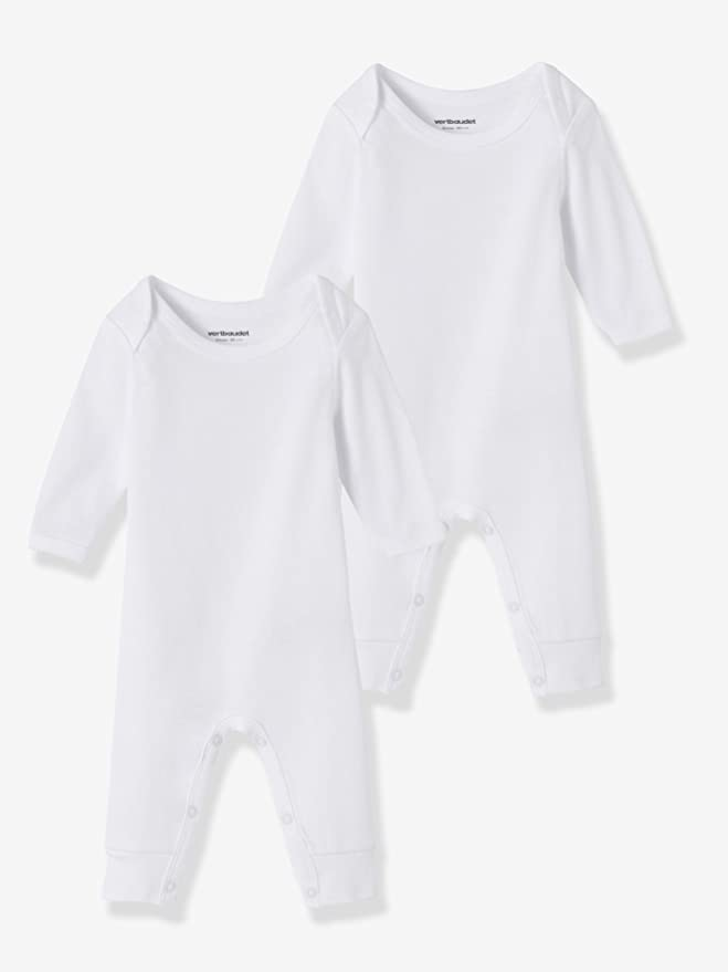 VERTBAUDET Lot de 2 bodies bébé blancs avec jambes Blanc 6M - 67CM   Amazon.fr  Bébés   Puériculture 0e39d078974