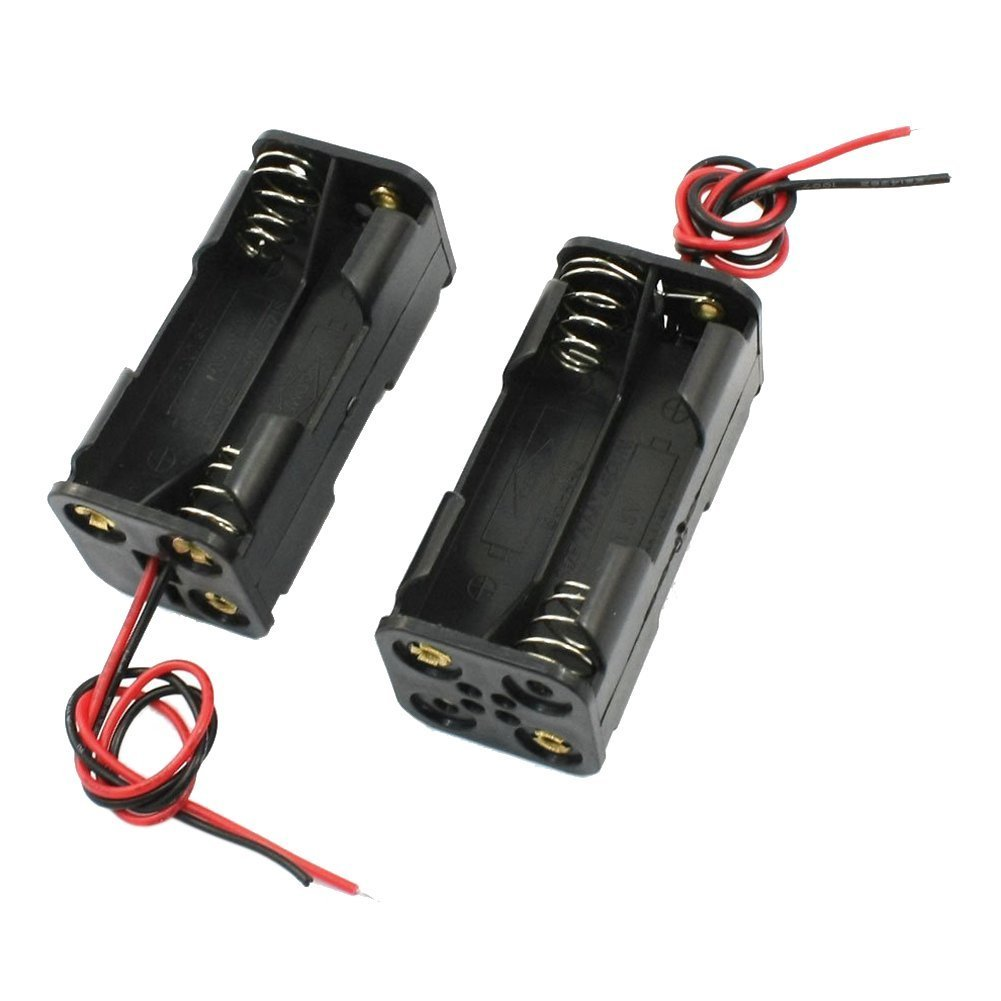 SODIAL(R) 2pcs Black 2-Layers 4 x 1.5V AAA Battery Holder Case Box w Wire Leads