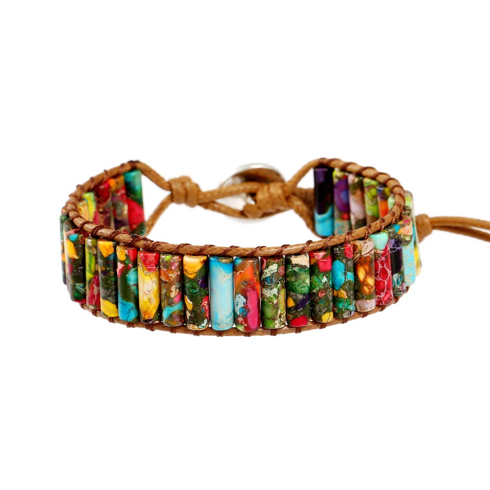IUNIQUEEN Rainbow Natural Stone Beads Friendship Statement Wrap Imperial Jasper Bracelets Collection for Women (Tube Beads Style) by Plumiss