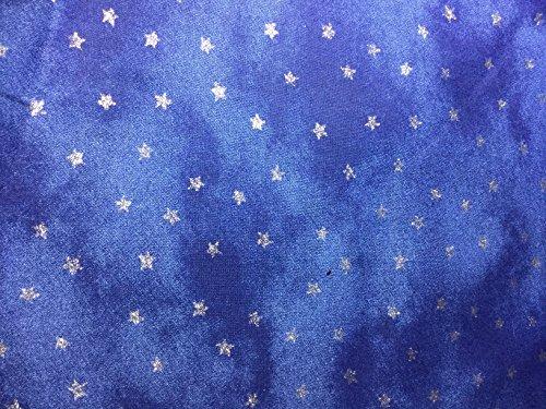 [해외]블루-빈 섬유에 은색 별-면 직물 / Silver Stars on Blue - Blank Textiles - Cotton Fabric