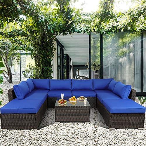 Leaptime Patio Furniture Sofa Garden Couch Set 9-Piece PE Brown Rattan Sofa Outdoor Sectional Sofa Deck Conversation Furniture Set