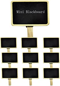 AKOAK 10 pc Mini Retangle Chalkboard with Wooden Blackboard Clip for Message Board Signs Wedding Birthday Party Decorations