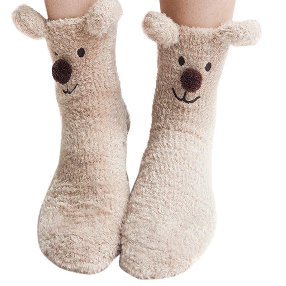 Pausseo 1 Pair of Unisex Casual Christmas Cute Cartoon Animal Print Stockings Sleeping Coral Velvet Socks Lady Gentleman Medium Sports Women Men Casual Business Digital Long Sock