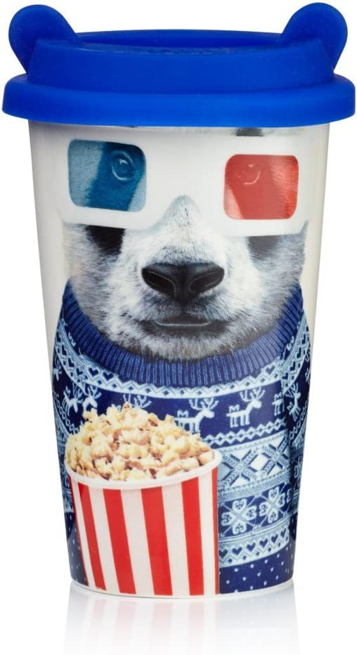 COFFEE CREW PANDA DOUBLE WALLED CERAMIC INSULATED TRAVEL MUG WITH LID