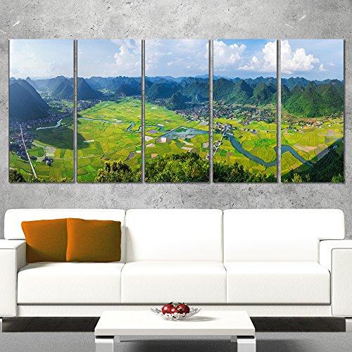 Valley Vietnam Panorama-Landscape Wall Art Canvas Print-60x28 5 Piece-PT11218-401, 60x28-5 Equal Panels ()
