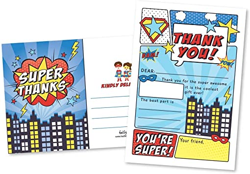25 Superhero Comic Fill In The Blank Kids Thank You Cards, Hero Bam Pow Themed Girls and Boys Bday Party Note Cards, Unique Adult or Children ...