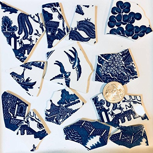 Mosaic Tile Art Supply for Mosaics & Crafts ~ Blue Willow Shabby Chic China Feature Tiles(T#467) ()