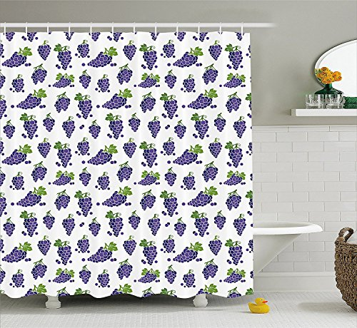 [Grapes Home Decor Shower Curtain Cute Fruit Icons Patterned Juicy Organic Yummy Cottage Sweet Design Fabric Bathroom Decor Set with Hooks Purple] (Grape Vine Halloween Costume)