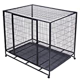 Double-Door Heavy Duty 42'' Dog Crate Cage Suitcase Kennel Metal Wire Pet Exercise Playpen w/ Tray Black