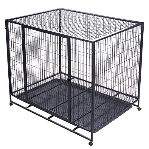 Double-Door Heavy Duty 42'' Dog Crate Cage Suitcase Kennel Metal Wire Pet Exercise Playpen w/ Tray Black (Lock Double Cage Breeder)