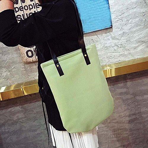 ESAILQ C Bolso hombro Verde Piel Mujer por XXL Grande Shoppers Bandolera de Bolsa para Rosado y de qf46xZf
