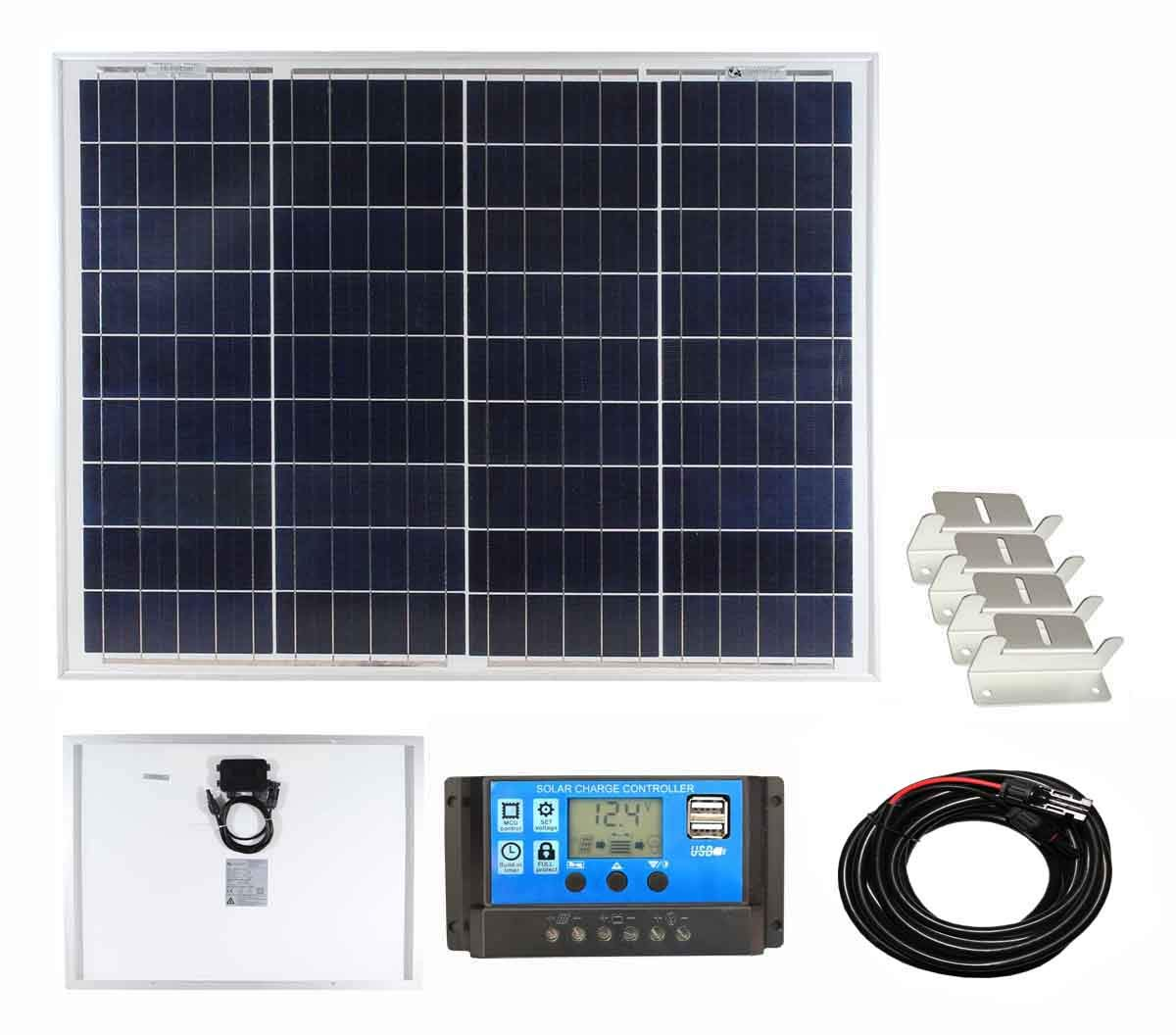 For Caravans Lowenergie 10W Poly-Crystalline Solar Panel Battery Charging Kit Charger Controller /& Mounting Bracket Set K2 Motorhomes Boats /& Any Flat Surface