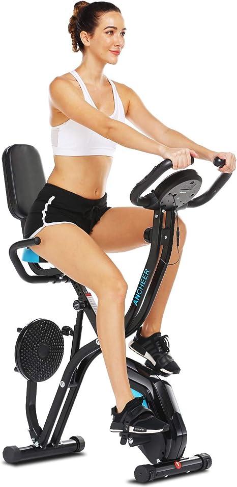 ajuste de resistencia a 8 velocidades bicicleta de fitness y entrenamiento de abdominales EWQ Bicicleta est/ática plegable para el hogar con dise/ño de respaldo control magn/ético silencioso