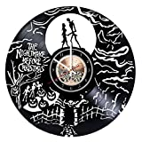 unique nursery ideas The Nightmare Before Christmas HANDMADE Vinyl Record Wall Clock - Get unique nursery wall decor - Gift ideas for kids, boys and girls – Film Characters Unique Modern Art