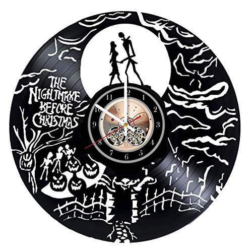 The Nightmare Before Christmas HANDMADE Vinyl Record Wall Clock - Get unique nursery wall decor - Gift ideas for kids, boys and girls – Film Characters Unique Modern Art
