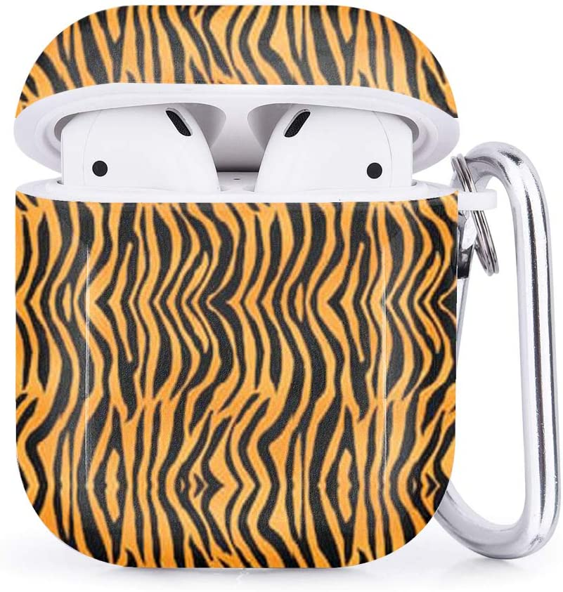 Shockproof TPU Gel Portable Protection Soft Case Cover Skin with Carabiner Clip Keychain Compatible with Airpods 2 /& 1 Tiger Print Stripes Skin