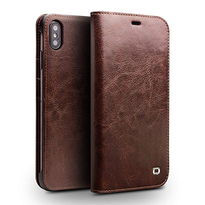 86f0de5c437 Image Unavailable. Image not available for. Color: iPhone Xs MAX Case,  QIALINO Slim Flip Genuine Leather ...