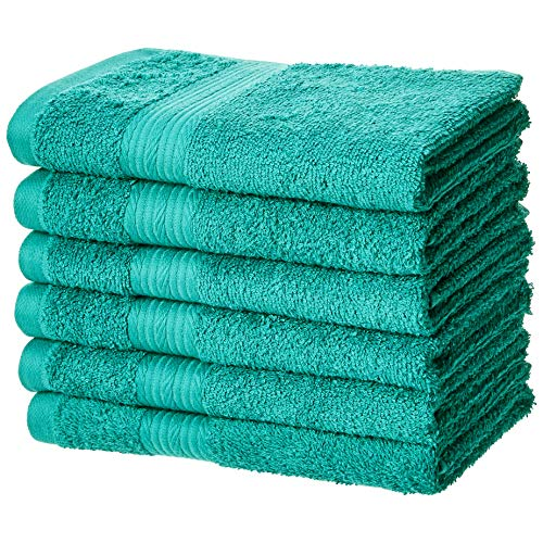 AmazonBasics Fade-Resistant Cotton Hand Towel - Pack of 6, Teal (Bathroom Towels Teal)