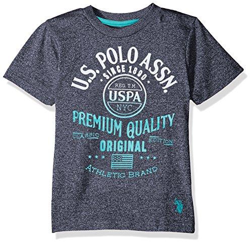 U.S. Polo Assn. Little Boys' Short Sleeve Fancy Crew Neck T-Shirt, Gradiant Screenprint Marled Navy, 4